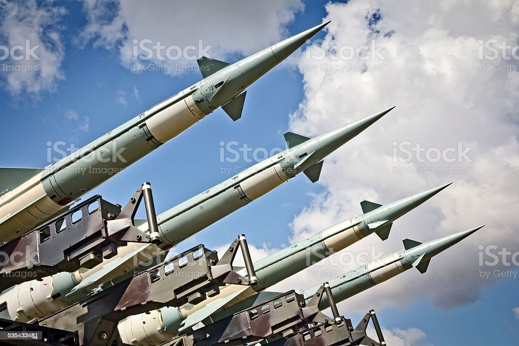 Military air missiles in defense readiness stock photo