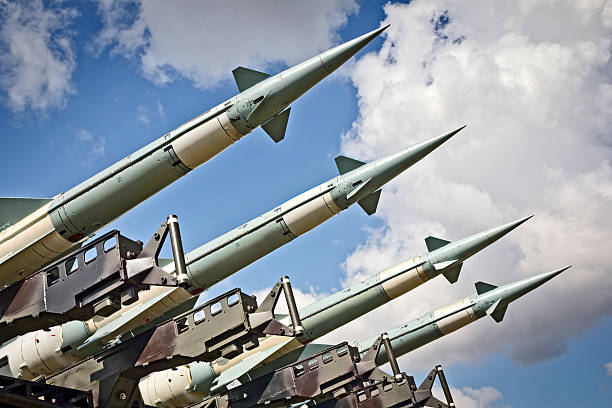 Military air missiles in defense readiness Medium range self-propelled anti-aircraft missiles S-125 Neva in defense readiness ready to launch antiaircraft stock pictures, royalty-free photos & images