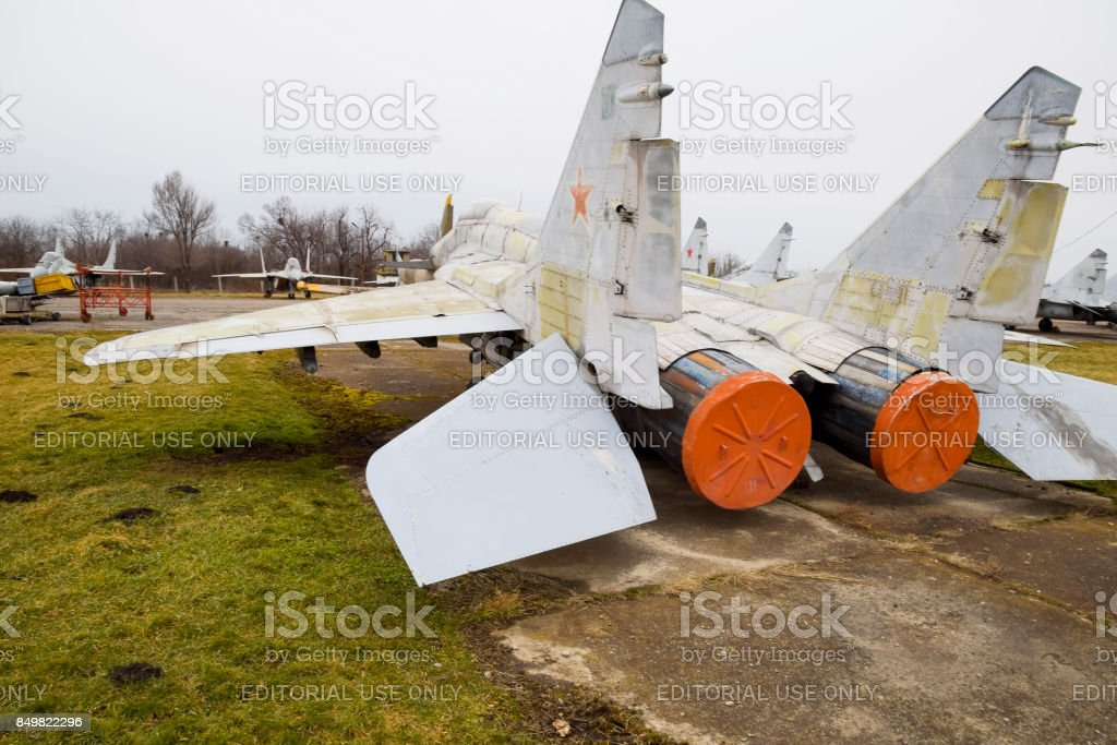 Military aircraft fighters at the airport. Old decommissioned aircraft. Krasnodar airfield. stock photo