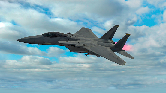 istock Military aircraft in flight equipped with missiles, combat set-up. F-15 eagle 1094056704