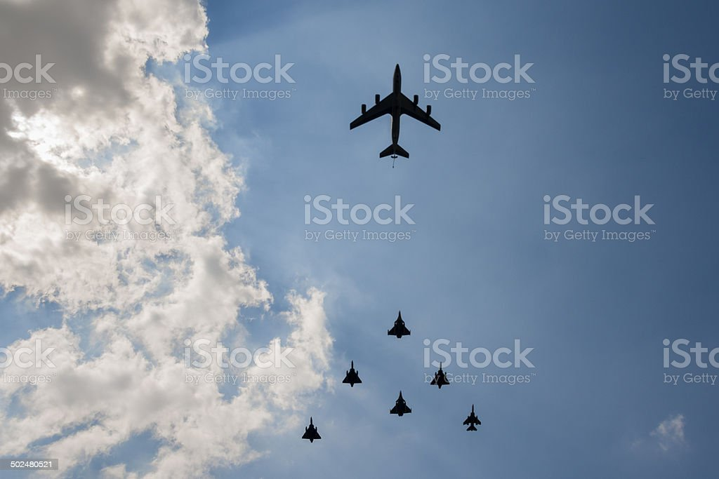 Military aircraft in formation stock photo