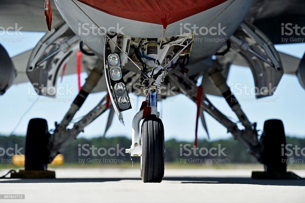 Military aircraft landing gear stock photo