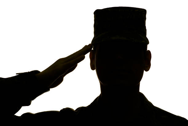 military airman saluting in silhouette - saluting stock photos and pictures