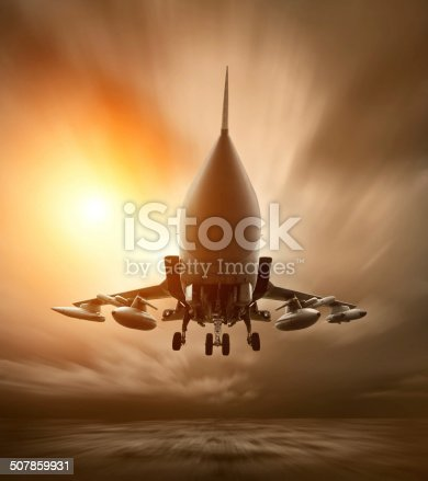 istock Military airplane at flying on the speed 507859931