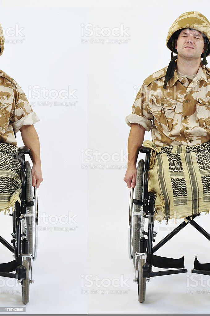 Military Amputee In Wheelchair royalty-free stock photo