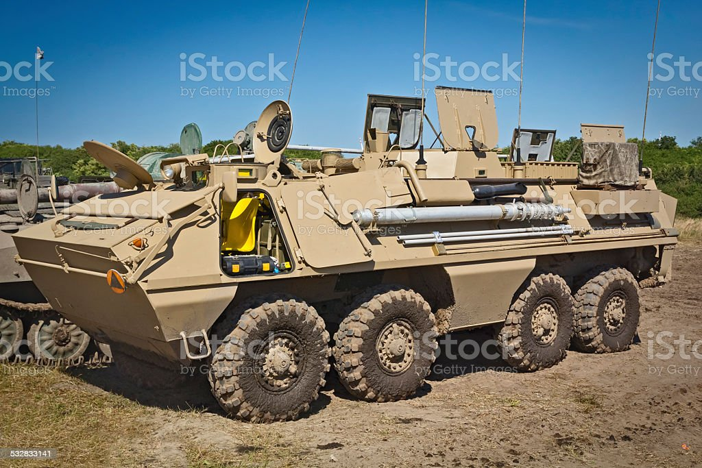 Military  armored battlefield transport vehicle stock photo