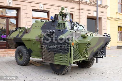 Military armored vehicle on the street