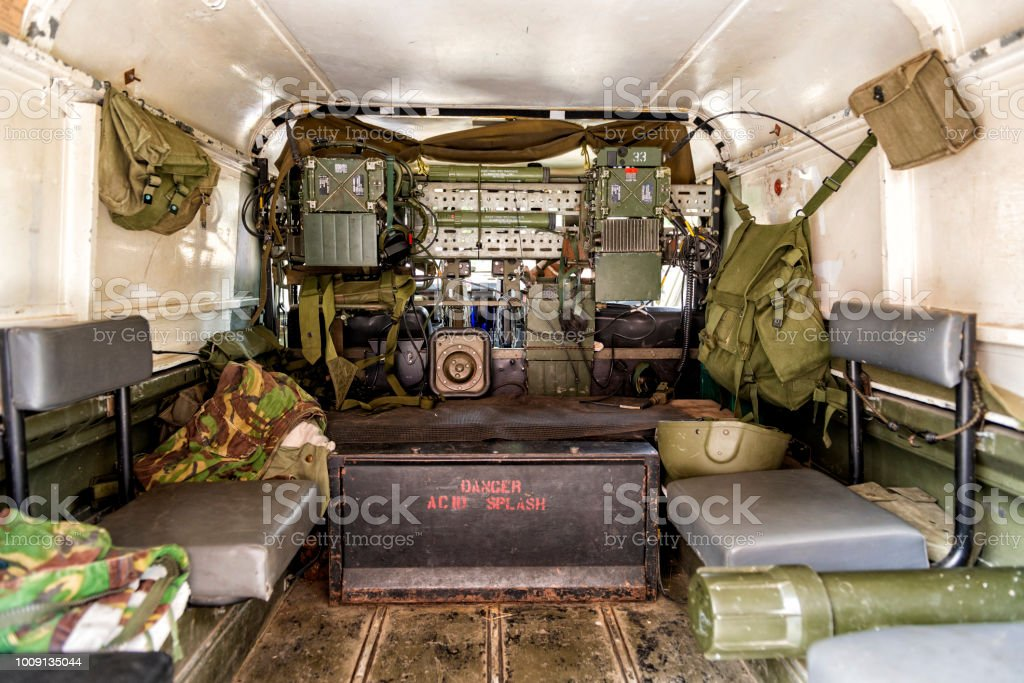 Military Army Transport Carrier Equipment and Supplier - Interior View stock photo