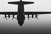 Military plane prepares for landing.