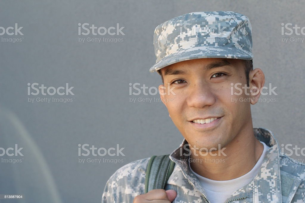 Military Asian army man with copy space royalty-free stock photo