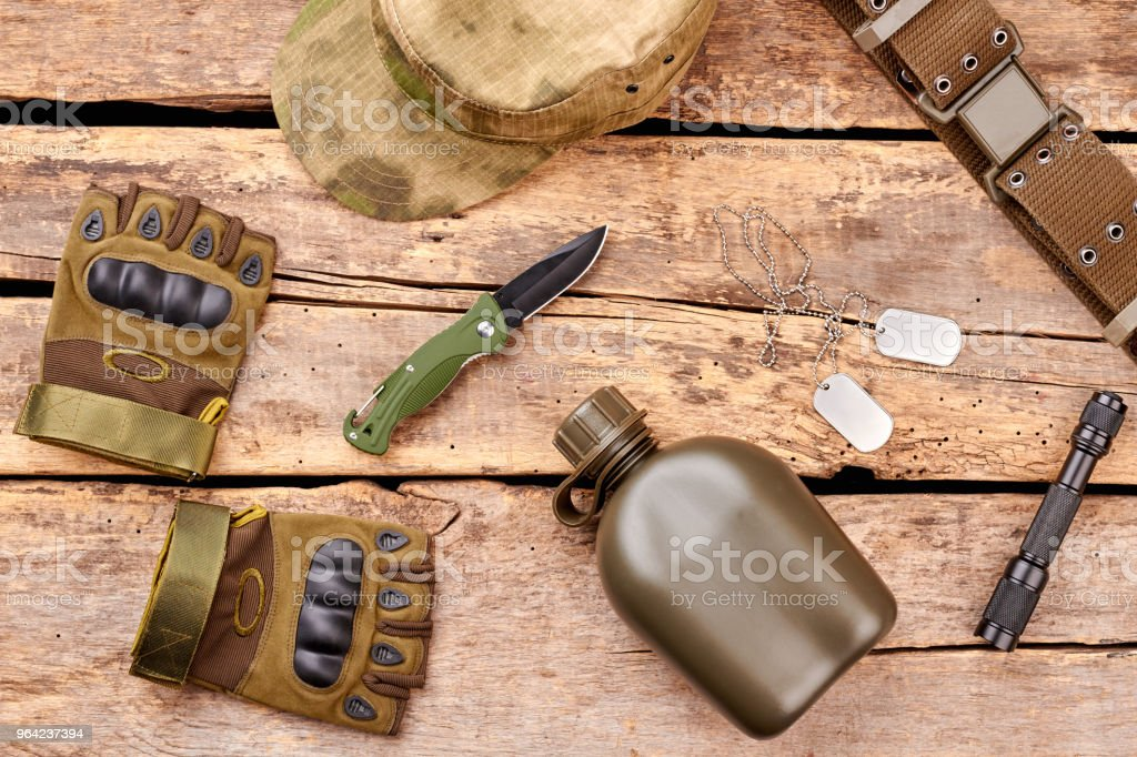 Military attributes for war. stock photo
