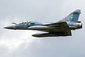 FLORENNES, BELGIUM - JUN 15, 2017: French Air Force Dassault Mirage 2000 fighter jet aircraft in flight.