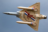 FLORENNES, BELGIUM - JUN 15, 2017: Special painted French Air Force Dassault Mirage 2000 fighter jet aircraft in flight.