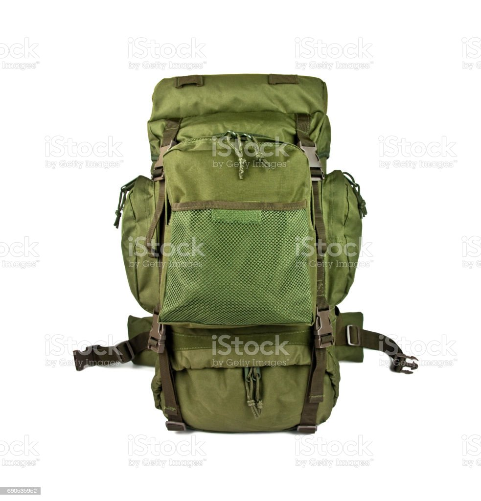 military backpack isolated on white background stock photo