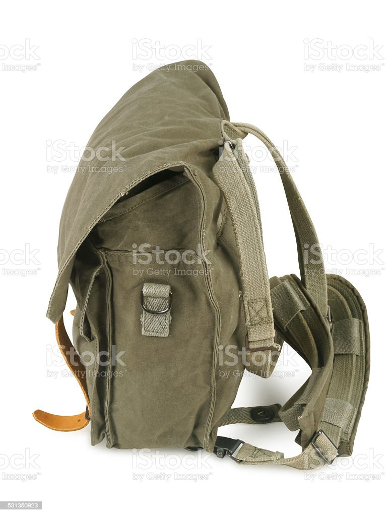 Military backpack stock photo