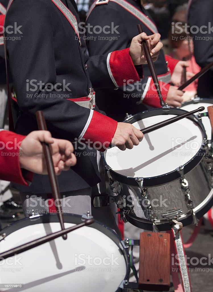 Military Band drummers in Semana Santa procession, Spain stock photo