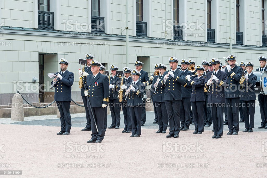 Military band in front of the Royal Palace in Oslo. stock photo