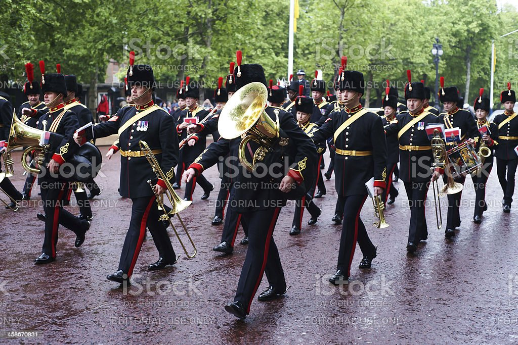 Military band in London on wet rainy day royalty-free stock photo