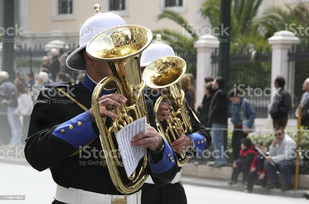 Military band musicians stock photo