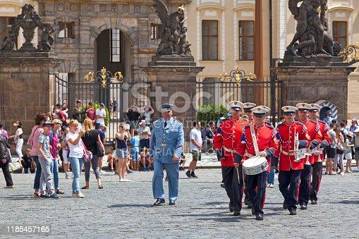 Prague, Czech Republic - June 14 2018: Military band of Prague Castle Guards at the entrance of Hradcany Castle.