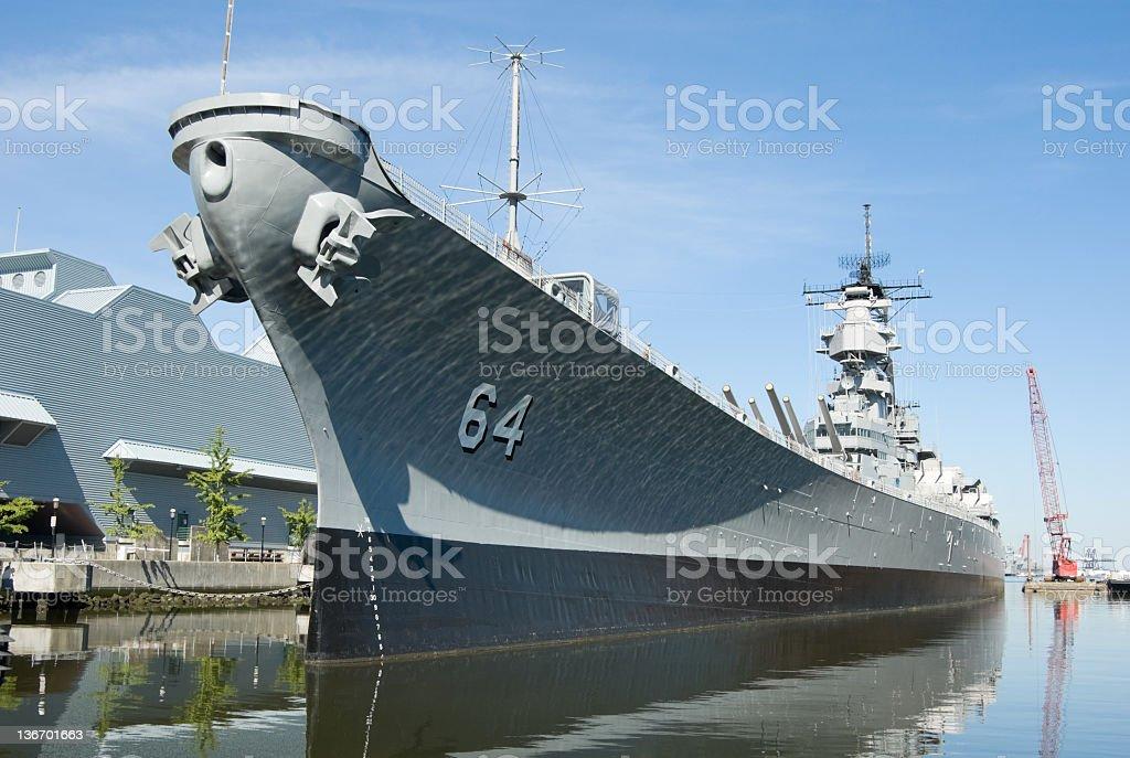 Military Battleship Docked at Norfolk, VA, Navy USS Wisconsin stock photo