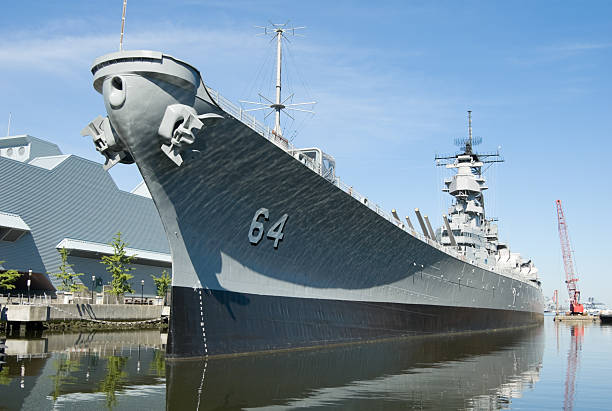 Military Battleship Docked at Norfolk, VA, Navy USS Wisconsin stock photo