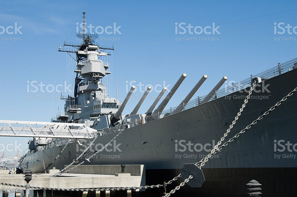 Military Battleship in Dock, US Navy WW2 stock photo