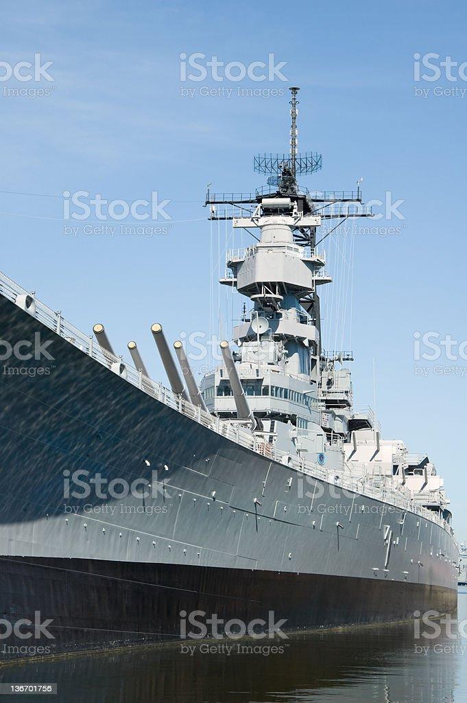 Military Battleship USS Wisconsin, Side View stock photo
