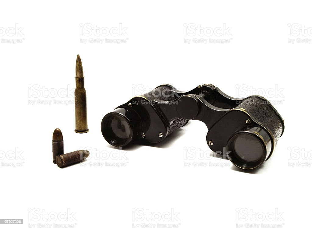 military binoculars and bullets royalty-free stock photo