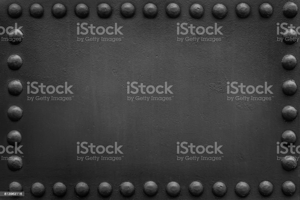 military black plate big rivets 1 stock photo