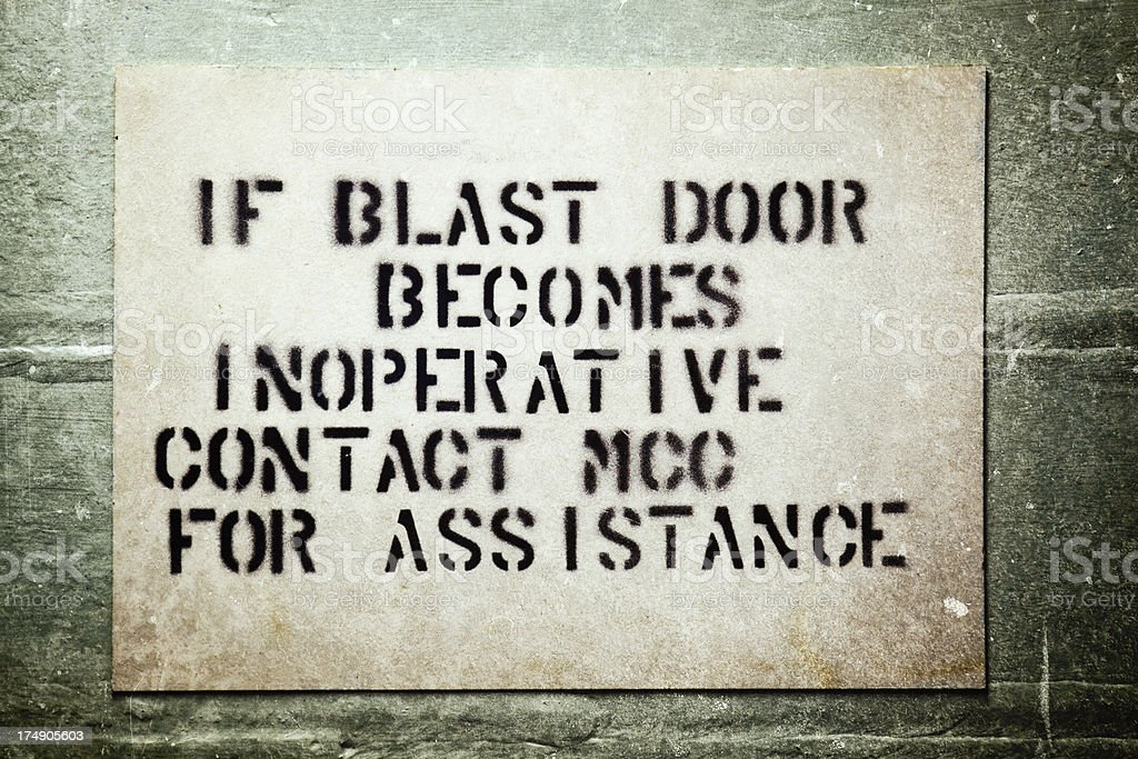 Military Blast Door Sign royalty-free stock photo