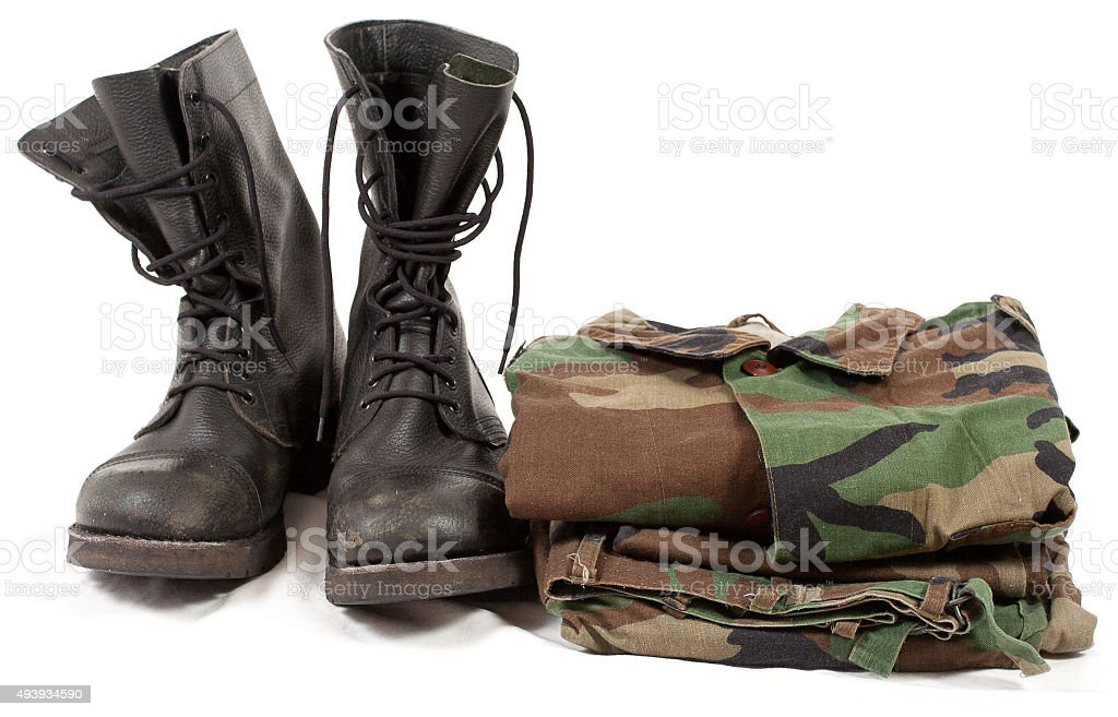 military boots army soldier uniforms clothing, shoes  camouflage clothes white stock photo