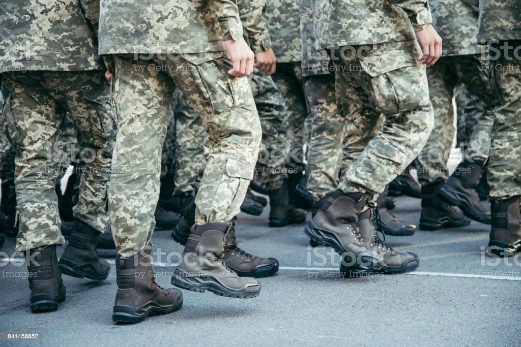 Military boots army walk the parade ground stock photo