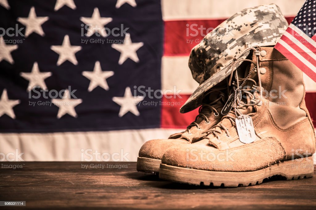 be9b400a70e1 Usa Military Boots Hat And Dog Tags With Flag Stock Photo   More ...