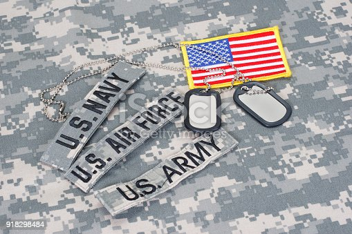istock US military branch tapes whith US flag on camouflage uniform 918298484