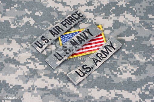 istock US military branch tapes whith US flag on camouflage uniform 918300570