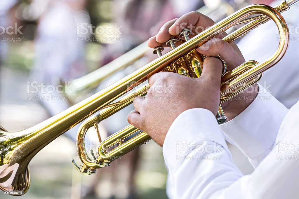 military brass band musician with trumpet stock photo