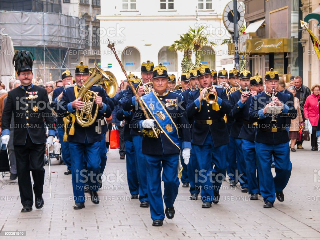 Military brass orchestra plays at street in Vienna stock photo