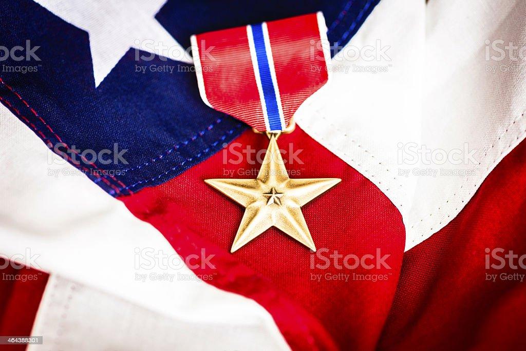 Medaglia Di Bronzo Militare Con Bandiera Americana Stelle