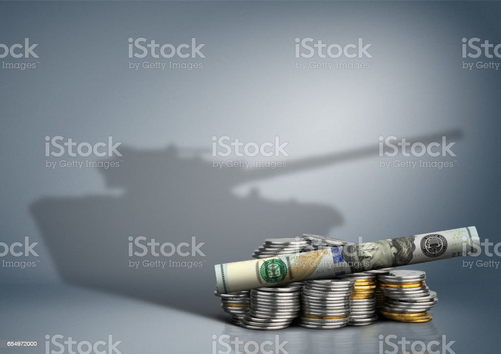 military budget concept, banknote with weapon shadow stock photo