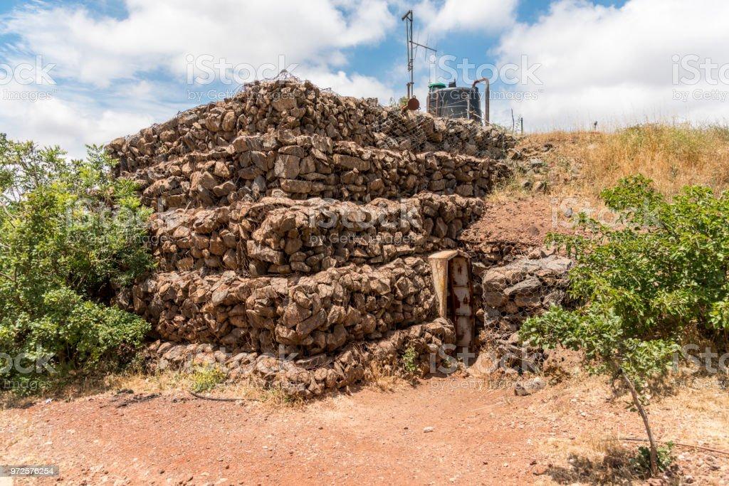 Military bunker entrance on Mount Bental on the Israeli Syrian border stock photo