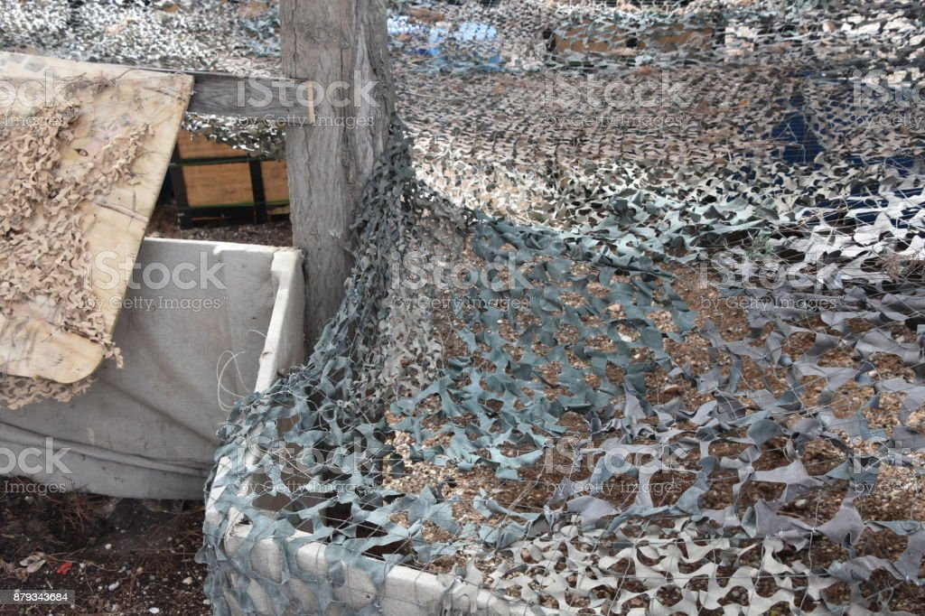 Military camouflage net stock photo