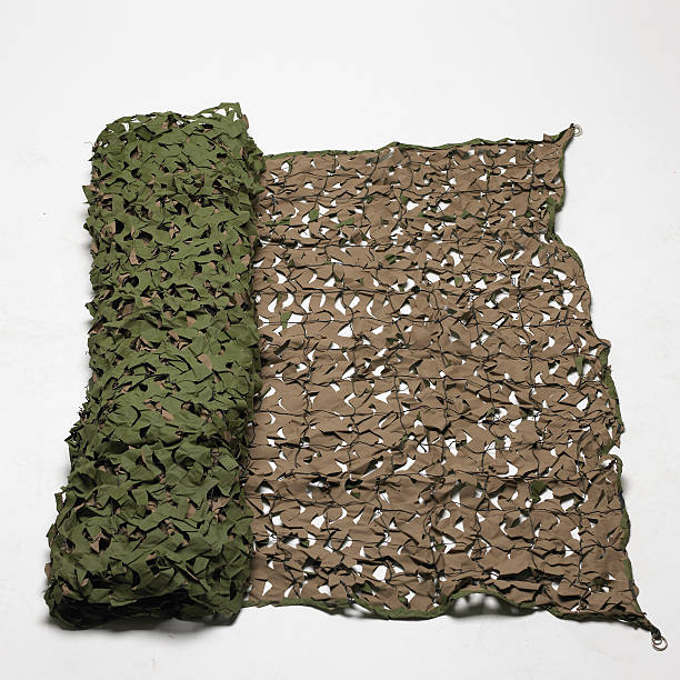 military camouflage net stock photo