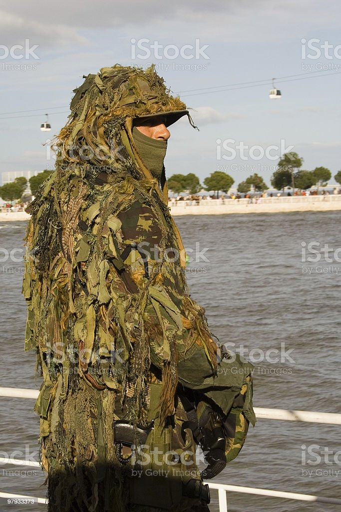 Military camouflaged solder. royalty-free stock photo