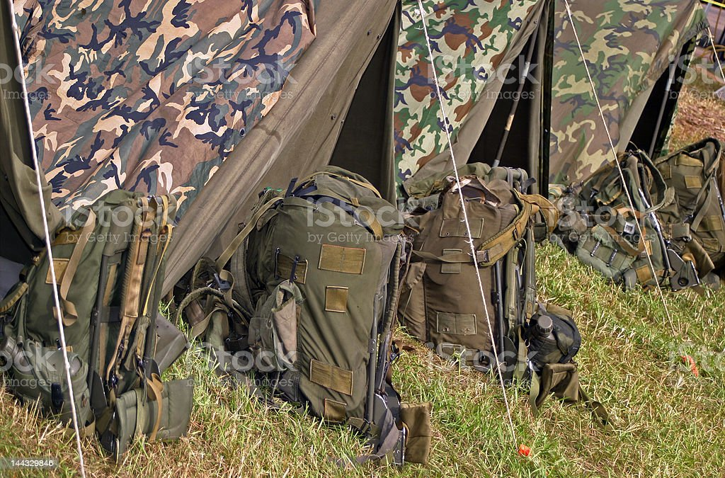 Military camping equipment stock photo