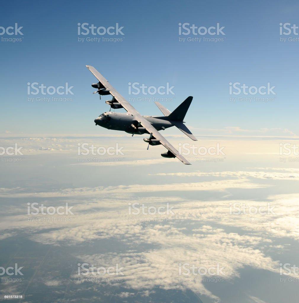 Military cargo airplane stock photo