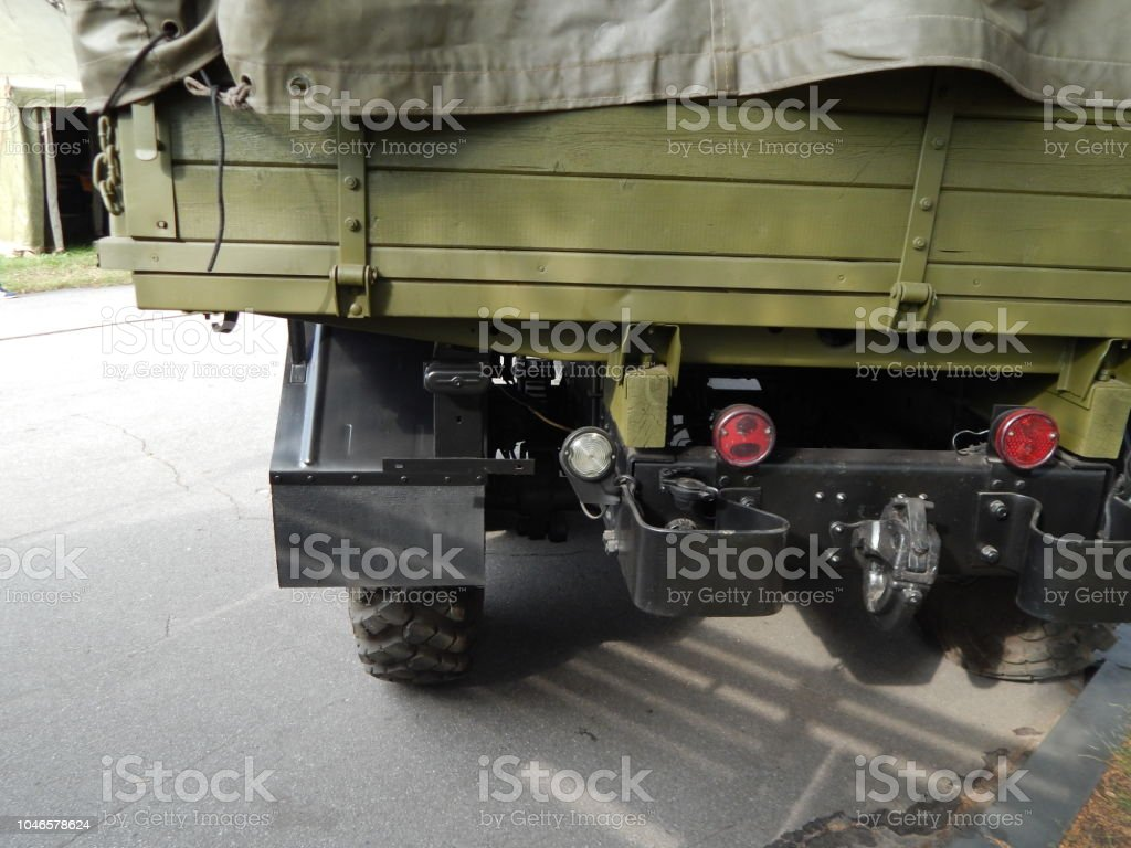 Military cars, equipment, retro items and elements stock photo