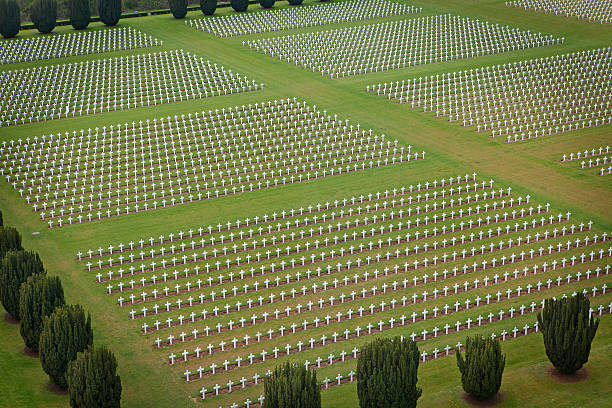 Military cemetery at Douaumont Ossuary in Verdun Aerial view of cemetery containing remains of French and German soldiers who died in French town Verdun during the World War I. verdun stock pictures, royalty-free photos & images