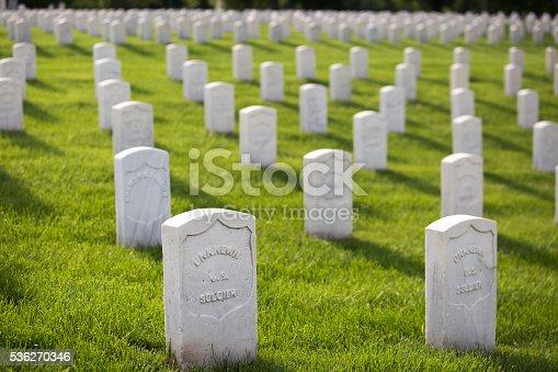 Military Cemetery Headstones Mark Dead Veterans Graves Stock Photo