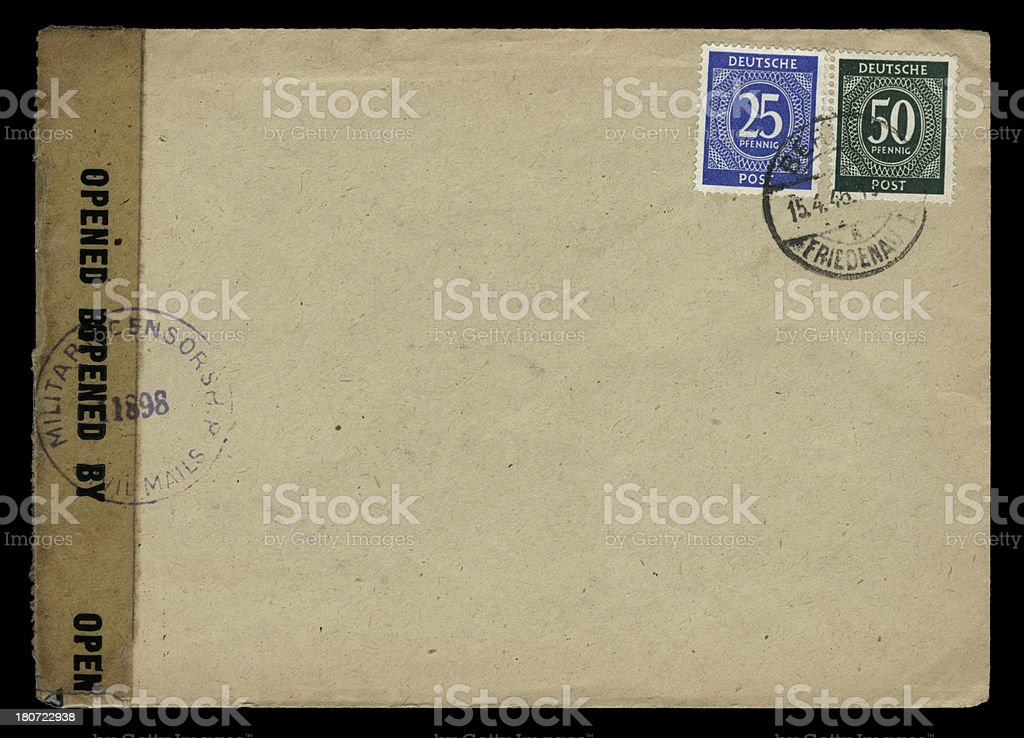 Military censor-opened envelope from Berlin, 1946 royalty-free stock photo